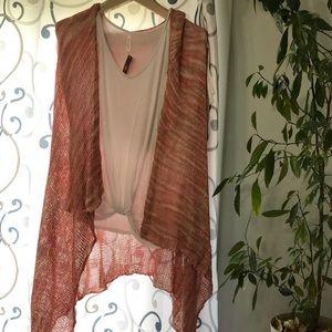 BEULAH Pink hooded long duster kimono cardigan